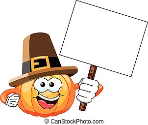 Pilgrim Cartoon pumpkin blank banner isolated