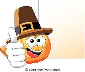 Pilgrim Cartoon pumpkin thumb up blank banner isolated