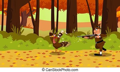 Pilgrim Chasing Turkey Cartoon Characters. 4K Animation Video Motion Graphics With Forest Background
