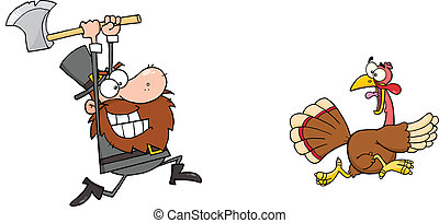 Pilgrim Chasing With Axe A Turkey - Angry Pilgrim Chasing...