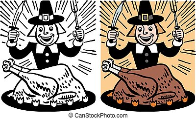 Pilgrim Eating Turkey