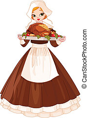 Pilgrim girl with plate