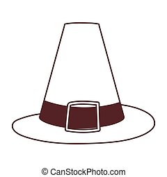 pilgrim hat cartoon isolated icon design line style