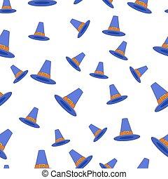Pilgrim Hat Flat Vector Seamless Pattern on White - Blue...