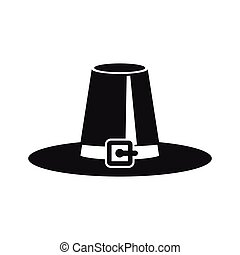 Pilgrim hat icon in simple style on a white background ...