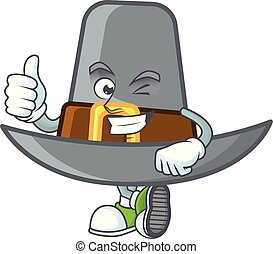 Pilgrim hat in the cartoon character thumbs up