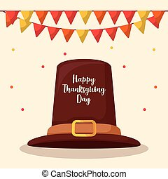 pilgrim hat of thanksgiving day with garlands