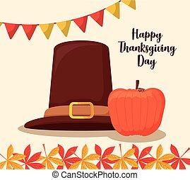 pilgrim hat of thanksgiving day with pumpkin
