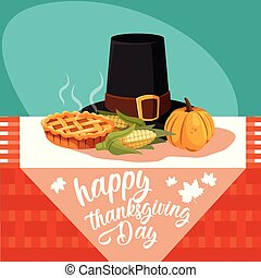 pilgrim hat of thanksgiving day with set icons in table