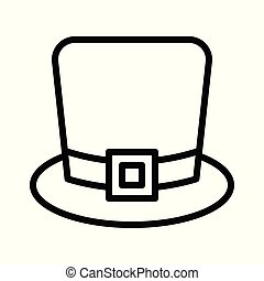 Outlined pilgrim hat. Coloring page outline of a tall ...