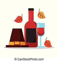 pilgrim hat with wine bottle glass and autumn leaves