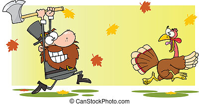 Pilgrim Man Chasing A Turkey