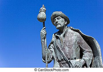 Monument to pilgrims on the Camino de Santiago.