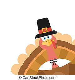 Pilgrim Turkey Bird Cartoon Mascot Character Peeking From A Corner