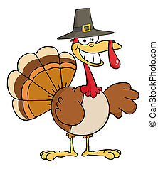 Pilgrim Turkey Bird Smiling - Happy Turkey Cartoon Character...
