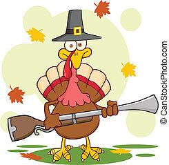 Pilgrim Turkey Bird With A Musket - Pilgrim Turkey Bird...