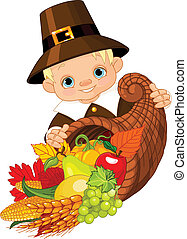 Pilgrim with cornucopia - Little pilgrim with horn of plenty...
