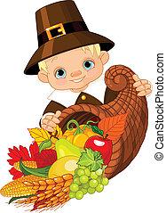 Pilgrim with cornucopia - Little pilgrim with horn of plenty