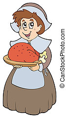 Pilgrim woman with roast turkey - vector illustration.