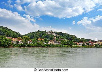 Pilgrimage church Maria Hilf in Passau, Germany - view from Innkai