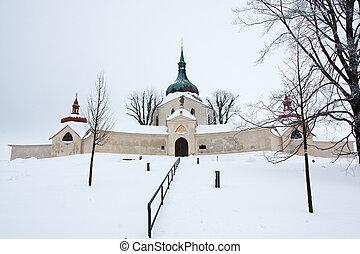 Pilgrimage church of Saint John of Nepomuk at Zelena Hora in winter, Zdar nad Sazavou, Czech Republic - baroque architect Jan Sa