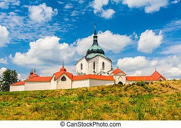 Pilgrimage church of Saint John of Nepomuk at Zelena Hora, Zdar nad Sazavou, Czech Republic is the final work of a famous baroque architect Jan Santini Aichel