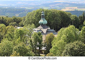 Pilgrimage Church on the hill Kremesnik in the Czech Republic