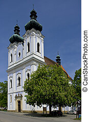 Pilgrimage Church of the Virgin Mary in town Sloup. Czech Republic, South Moravia.
