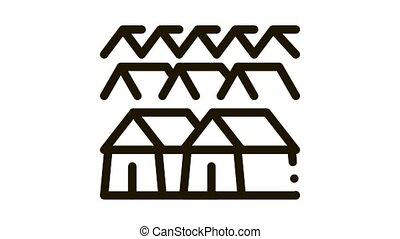 pilgrimage houses Icon Animation. black pilgrimage houses animated icon on white background