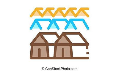pilgrimage houses Icon Animation. color pilgrimage houses animated icon on white background