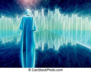 White robed traveler journeys to holy city