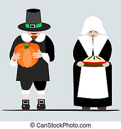 Pilgrims giving thanks - Illustration of a cartoon pilgrim...