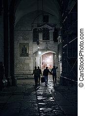 Pilgrims in a Holy Sepulch church