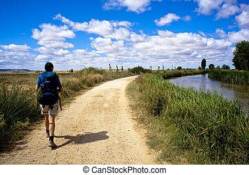 Pilgrims, Way of St. James - Spain - Pilgrims along the way...
