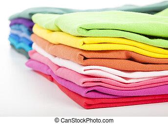 pilha, coloridos, roupas