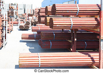 pilha, de, aço, canos, para, andaime, em, stock.