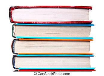 pilha, de, a, livros