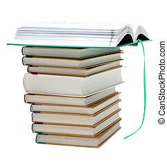 pilha, de, a, livros, openning, livro, cima