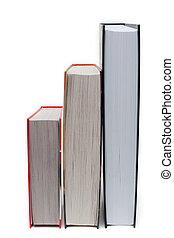 pilha, de, a, livros, três