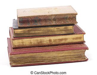 pilha, de, antigüidade, dourado, páginas