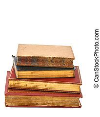 pilha, de, antigüidade, livros