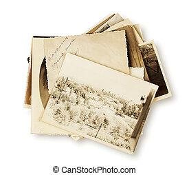 pilha, de, antigas, fotografias