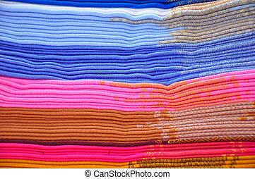 pilha, de, azul, e, cor-de-rosa, alpaca, cobertores