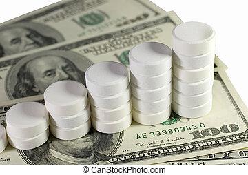 pilha, de, branca, pílulas, ligado, dólares