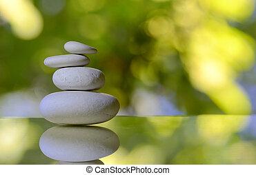 pilha, de, branca, seixo, pedras