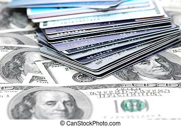 pilha, de, cartões crédito, e, dólar, motas de banco