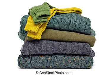 pilha, de, chunky, irlandês, lã, cabo tricota, casimira, e,...