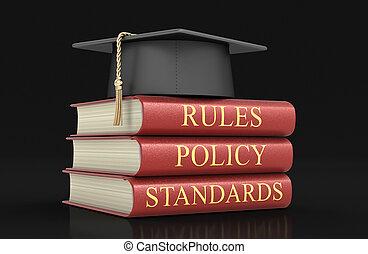 pilha, de, conformidade, e, regras, books., imagem, com, caminho cortante