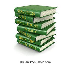 pilha, de, conformidade, e, regras, livros