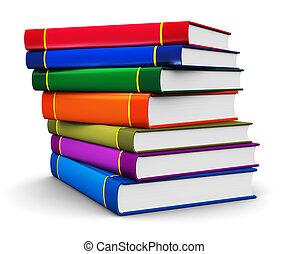 pilha, de, cor, hardcover, livros